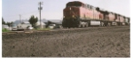 BNSF 7404 rolls east out of the BNSF Hauser yard heading to Kalispell, Mt.