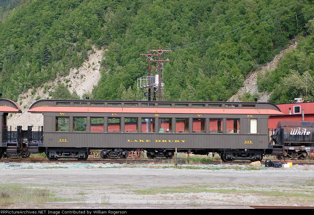"White Pass & Yukon Route (WPYR) Passenger Coach No. 336, ""Lake Drury"""