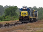 CSX 5850 blasts through Union Point on a rainy day