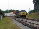 Massive CSX Augusta bound stacker screams through Union Point
