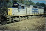 CSX H775 prepares to depart.... I went up but at the request of the crew, I did not photo them or the engine inside