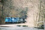 NS 5438 comes out from behind the trees