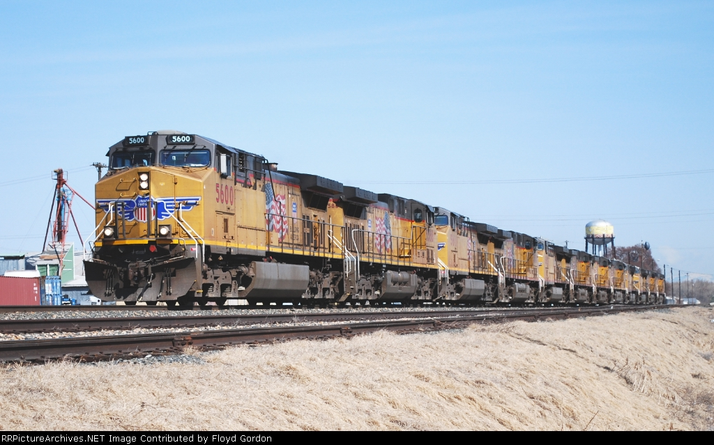 UP 5600 is the lead of 12 unit consist of GE's
