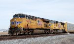 UP 7360 leads eastbound autoracks/intermodal