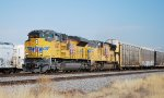 UP 8687 leads east bound UP autorack/double stack