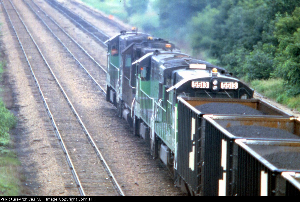 1190-20 Eastbound BN coal loads pass Koppers Coke (Hamline Ave)