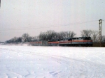 1125-30 Eastbound Amtrak Empire Builder on BN Willmar Line passes site of ex-GN Cedar Lake Receiving Yard