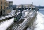 1144-09 Eastbound BN coal train heads through Mpls GN Depot on track 6-1/2