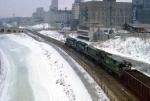 1144-11 Eastbound BN coal train rolling through Mpls GN Depot toward Stone Arch Bridge