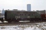 1144-29 BN 788 on eastbound ore train passing Mpls GN Depot
