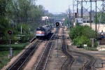 1163-05 Eastbound Amtrak Empire Builder on MILW Short Line approaches Selby Ave bridge