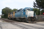 light power in the form of two GP38-2s approaches to drill a local customer