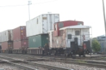 SOO caboose # 134 brings up the rear with an EOT on it, mixing the old with the new