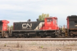 """unusual CN switche in the consist of a road train, sporting """"WC"""" sublettering"""