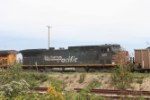 An unretouched SP GE rolls north on the former CNW main on a loaded coal train