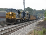 CSX 5457 leads Q335-20 west onto the double track just past Seymour