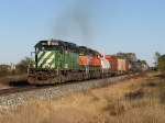 With a recrew aboard, BNSF 7055 & 6929 lead Q335-10R through the autumn countyside