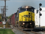 CSX 7357 leads Q326-11 east onto Track 2