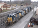 4 CSX EMD's sits tied down next to the old B&O main