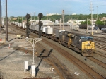 CSX 261 & 144 lead Q100-09 towards the east end of the yard for a crew change
