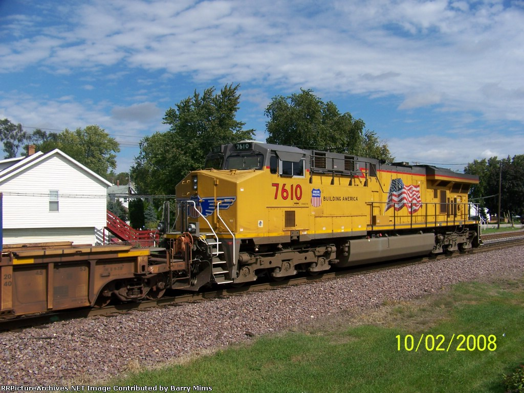 UP 7610 on rear of stack train as DPU unit