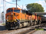BNSF 7585 leads grain train west