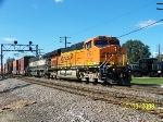 BNSF 7221 with SD70 leads eastbound stack train