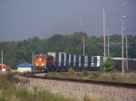 BNSF 7590 Leads a Z Train East Around a Curve at the Frentress Lake Marina