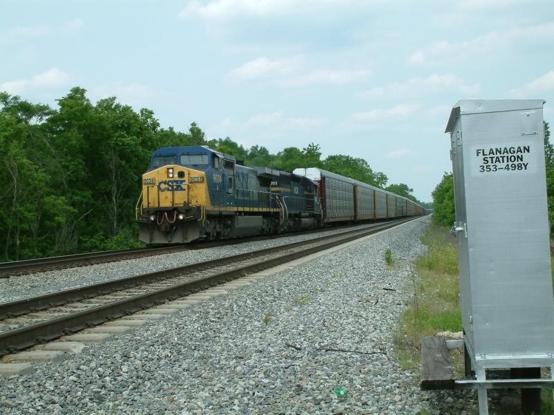 CSX 9034 leads a rack train