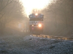 NS 9833 leading a WB out of the fog
