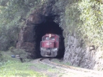Train leaving the tunnel