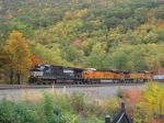 NS 9478 leads BNSF 7448 and 5328 through the fall colors