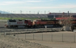 A few BNSF engines sitting