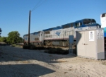 An Amtrak train running through Paso Robles with a mix of power