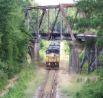 CSX southbound passing under CofG bridge