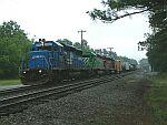 Train Q675 cruises past