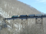 FURX 3034 and CSX 7523 lead a north bound freight across Copper Creek Viaduct