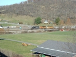 NS 8751 along with a colorful lashup head west through Tazewell, VA.