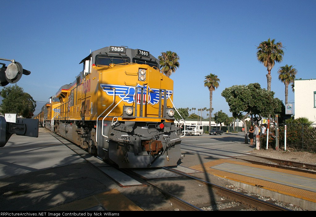 UP 7880 and UP 7750 lead the officer special into Santa Barbara, CA 6/8/2008.