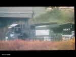 NS 9647 leads NS mixed freight train