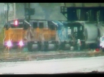 NS mixed freight meets up with track work