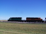 BNSF 6377 Speeds Past us in the Highway at Over 65mph