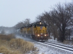 UP 3762 Leads the M-VALLIN Local into Town on a Cold, Snowy Day