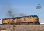 UP 5600 lead UP freight accelerates eastbound