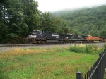 Norfolk Southern 9338 and 8778 and Burlington Northern Santa Fe 7799 at Horseshoe Curve