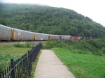 Norfolk Southern 9347 and 9875 round Horseshoe Curve