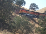 BNSF engine #4040 going across the mountainside
