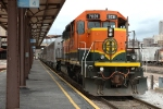 BNSF 7031 makes a Station stop with the Shippers Special