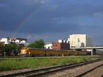 "UP 951 gets ready to depart Union Station with the ""Ark-Sar-Ben"" Special under a summer rainbow"