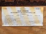 CSX Bad Order Tag